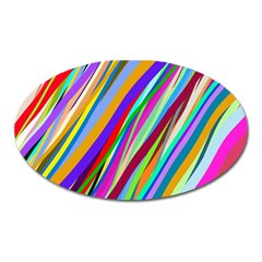 Multi Color Tangled Ribbons Background Wallpaper Oval Magnet