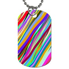 Multi Color Tangled Ribbons Background Wallpaper Dog Tag (one Side)