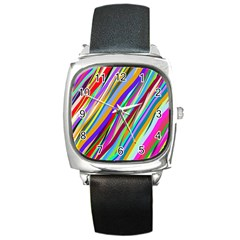Multi Color Tangled Ribbons Background Wallpaper Square Metal Watch