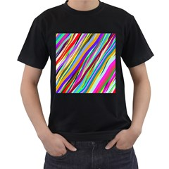 Multi Color Tangled Ribbons Background Wallpaper Men s T Shirt (black) (two Sided)