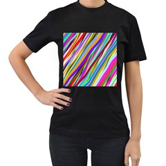 Multi Color Tangled Ribbons Background Wallpaper Women s T Shirt (black) (two Sided)