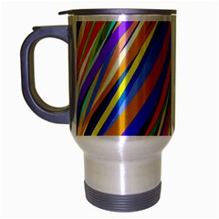 Multi Color Tangled Ribbons Background Wallpaper Travel Mug (silver Gray)
