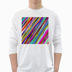 Multi Color Tangled Ribbons Background Wallpaper White Long Sleeve T Shirts