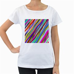 Multi Color Tangled Ribbons Background Wallpaper Women s Loose Fit T Shirt (white)