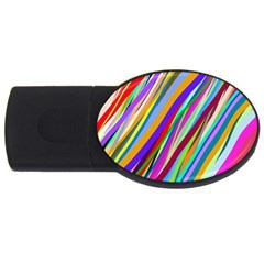 Multi Color Tangled Ribbons Background Wallpaper Usb Flash Drive Oval (4 Gb)