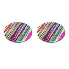 Multi Color Tangled Ribbons Background Wallpaper Cufflinks (oval)