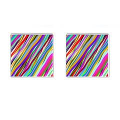 Multi Color Tangled Ribbons Background Wallpaper Cufflinks (square)