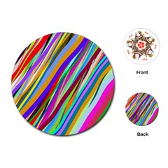 Multi Color Tangled Ribbons Background Wallpaper Playing Cards (Round)