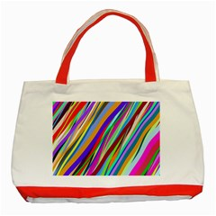 Multi Color Tangled Ribbons Background Wallpaper Classic Tote Bag (red)