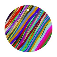 Multi Color Tangled Ribbons Background Wallpaper Round Ornament (Two Sides)