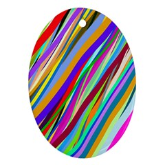 Multi Color Tangled Ribbons Background Wallpaper Oval Ornament (two Sides)