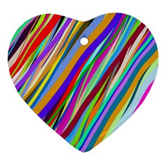 Multi Color Tangled Ribbons Background Wallpaper Heart Ornament (two Sides)