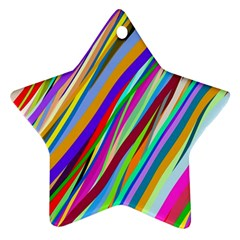 Multi Color Tangled Ribbons Background Wallpaper Star Ornament (Two Sides)