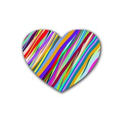 Multi Color Tangled Ribbons Background Wallpaper Rubber Coaster (heart)