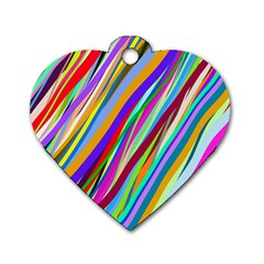 Multi Color Tangled Ribbons Background Wallpaper Dog Tag Heart (two Sides)