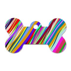 Multi Color Tangled Ribbons Background Wallpaper Dog Tag Bone (one Side)
