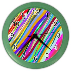 Multi Color Tangled Ribbons Background Wallpaper Color Wall Clocks