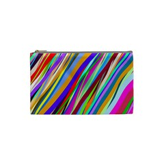 Multi Color Tangled Ribbons Background Wallpaper Cosmetic Bag (Small)