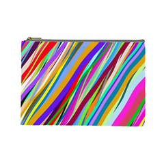 Multi Color Tangled Ribbons Background Wallpaper Cosmetic Bag (large)