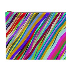 Multi Color Tangled Ribbons Background Wallpaper Cosmetic Bag (XL)