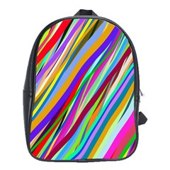 Multi Color Tangled Ribbons Background Wallpaper School Bags(large)
