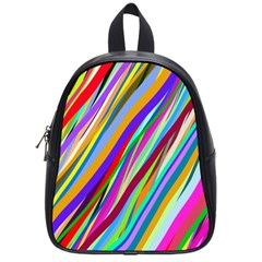Multi Color Tangled Ribbons Background Wallpaper School Bags (Small)