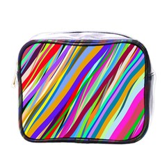 Multi Color Tangled Ribbons Background Wallpaper Mini Toiletries Bags