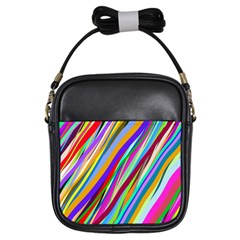 Multi Color Tangled Ribbons Background Wallpaper Girls Sling Bags