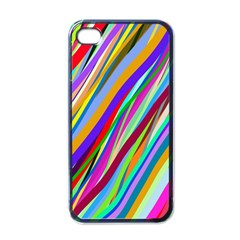 Multi Color Tangled Ribbons Background Wallpaper Apple iPhone 4 Case (Black)