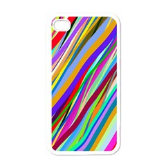 Multi Color Tangled Ribbons Background Wallpaper Apple iPhone 4 Case (White)