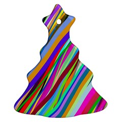 Multi Color Tangled Ribbons Background Wallpaper Ornament (Christmas Tree)