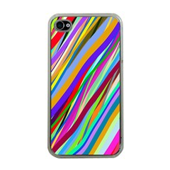 Multi Color Tangled Ribbons Background Wallpaper Apple iPhone 4 Case (Clear)