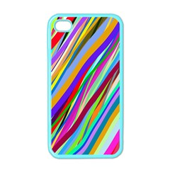Multi Color Tangled Ribbons Background Wallpaper Apple Iphone 4 Case (color)