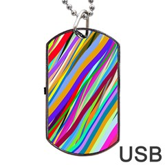 Multi Color Tangled Ribbons Background Wallpaper Dog Tag USB Flash (One Side)