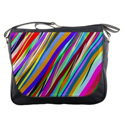 Multi Color Tangled Ribbons Background Wallpaper Messenger Bags