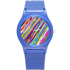 Multi Color Tangled Ribbons Background Wallpaper Round Plastic Sport Watch (s)