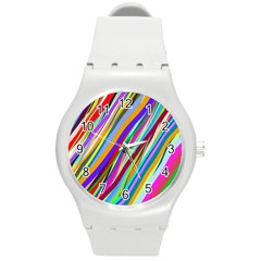 Multi Color Tangled Ribbons Background Wallpaper Round Plastic Sport Watch (M)