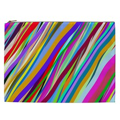 Multi Color Tangled Ribbons Background Wallpaper Cosmetic Bag (xxl)