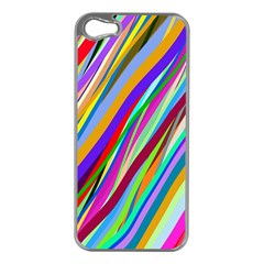 Multi Color Tangled Ribbons Background Wallpaper Apple iPhone 5 Case (Silver)