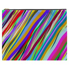 Multi Color Tangled Ribbons Background Wallpaper Cosmetic Bag (xxxl)