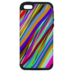 Multi Color Tangled Ribbons Background Wallpaper Apple Iphone 5 Hardshell Case (pc+silicone)