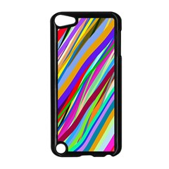 Multi Color Tangled Ribbons Background Wallpaper Apple Ipod Touch 5 Case (black)