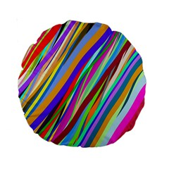 Multi Color Tangled Ribbons Background Wallpaper Standard 15  Premium Round Cushions