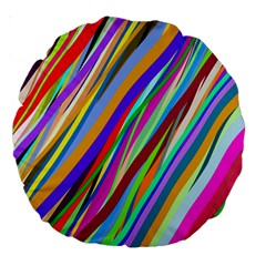 Multi Color Tangled Ribbons Background Wallpaper Large 18  Premium Round Cushions