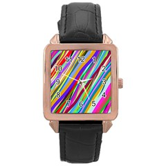 Multi Color Tangled Ribbons Background Wallpaper Rose Gold Leather Watch