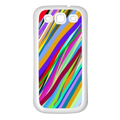 Multi Color Tangled Ribbons Background Wallpaper Samsung Galaxy S3 Back Case (White)