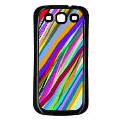 Multi Color Tangled Ribbons Background Wallpaper Samsung Galaxy S3 Back Case (black)
