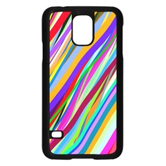 Multi Color Tangled Ribbons Background Wallpaper Samsung Galaxy S5 Case (Black)