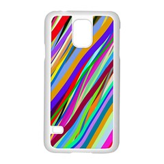 Multi Color Tangled Ribbons Background Wallpaper Samsung Galaxy S5 Case (white)