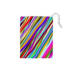 Multi Color Tangled Ribbons Background Wallpaper Drawstring Pouches (small)